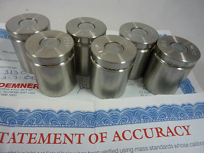 6 Troemner 8 Ounce Calibration Weights w/ Certificate of Accuracy Class F