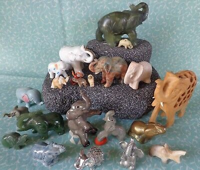 Large Lot 21 Elephant Figurines Jade Porcelain Crystal Stone Wood ~FREE SHIPPING