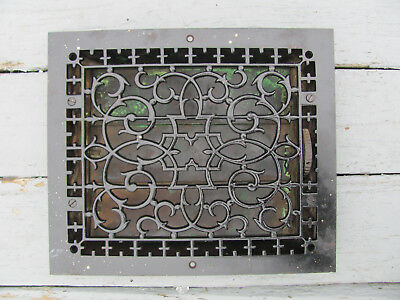 "Antique 1858 Cast Iron Register Vent Grate Tuttle & Bailey NY 14"" by 12"" Nice!"