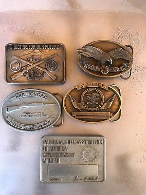 5 Collectible NRA Belt Buckles