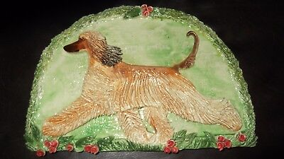 Beautiful Afghan Hound Textured Porcelain Handcrafted Signed Plaque for Hanging
