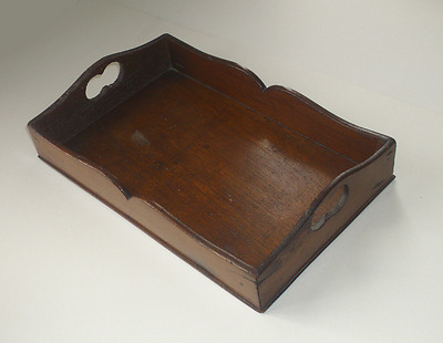 Small carved vintage wooden tray with shaped sides & handle cutouts. Shabby chic