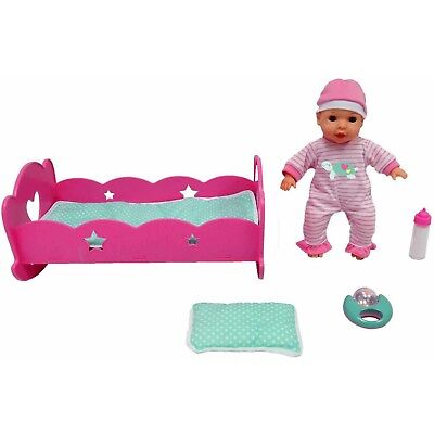 """MSL 12"""" Baby and Rocking Crib with Sounds, Pink"""