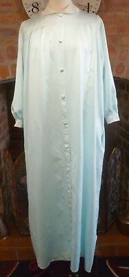 """Vtg St Michael Turquoise Silky Negligee Robe Lace Trim Size 16-18 48"""" Bust"""