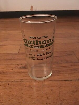 Vintage Original Nathan's Famous Hot Dogs Glass Coney Island