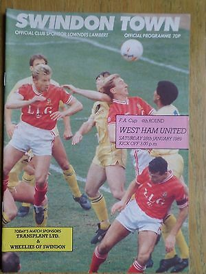 Swindon Town v West Ham United 1988/89 FA Cup programme