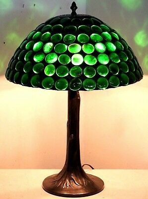 Antique/vintage Arts & Crafts Leaded Stained Glass Lamp W/ Heavy Tree Trunk Base