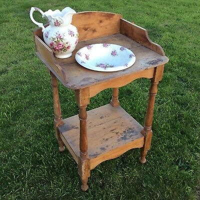 Vintage pine wash stand   complete with jug and bowl    great shop display