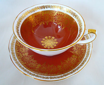 Royal Grafton England Cinnamon ~ GOLD FLORAL FILIGREE ~ Teacup cup tea