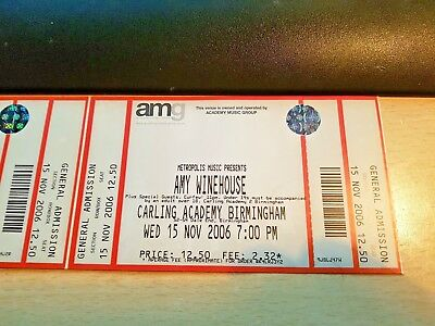 2 *rare* Unused Amy Winehouse Concert Tickets 15 Nov 2006
