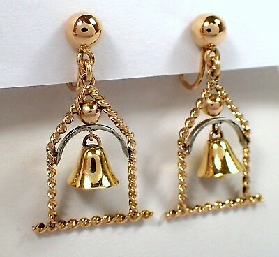 RARE Antique Vtg Italy 750 SOLID 18k Yellow Rose White Gold Bell Screw Earrings