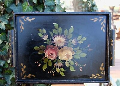 Vintage wooden tole tray