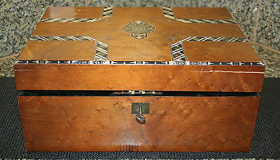 Antique Wooden Traveling Lap Desk With Key Inlay On Top Leather Writing Surface