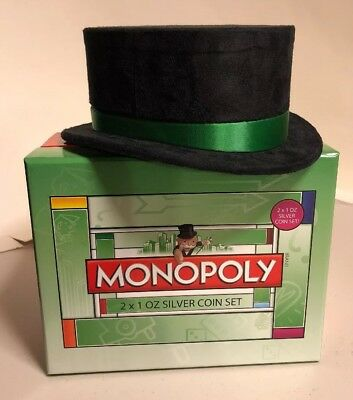 MONOPOLY 2013 New Zealand Mint 2 .999 silver proof coin set NIB Rare Limited