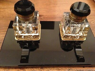 Antique Black Marble - Old Inkwell / Ink Stand with Gold & Glass Ink Pots