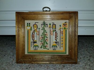 """Native American Art Framed Sand Painting Navajo Yei Signed Vintage 6 x 7"""""""