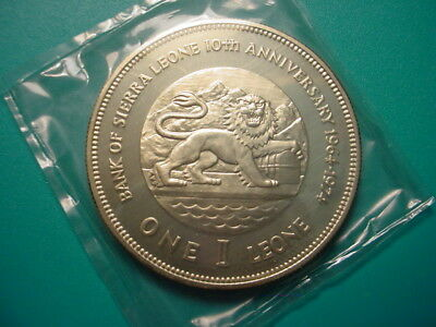 Sierra Leone~ Lg. Silver 1974 1-Leone in Very Nice Proof Condition!
