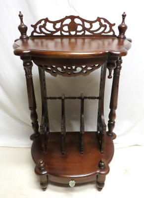 Antique Mahogany Hall Foyer Telephone Table Stand End Lamp Ornate Scroll Accents