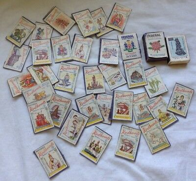 REDHEADS MATCHES match box VINTAGE LABEL COLLECTION bulk lot FEDERAL advertising