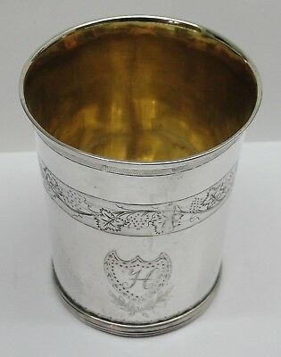 Lovely Decorated Early to Mid 19th Century German Parcel Gilt Beaker
