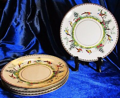 c1950 Royal Stafford Birds of Paradise Hand Painted Exotic 4 Birds Bread Plates