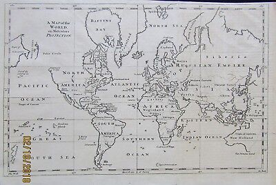 Map Of World 1752 Mercator's Projection Imaginary Lands Cape Circumcision