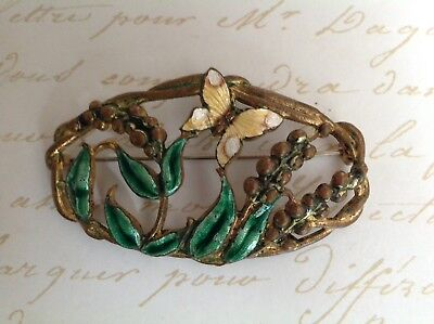 Antique Victorian, Art Deco Enamel Gold Filled, Flowers And Butterfly Brooch