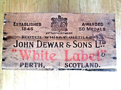 "Vintage 1951 Wooden Dewar's & SON'S  ""White Label"" Scotch Whisky wood Crate"