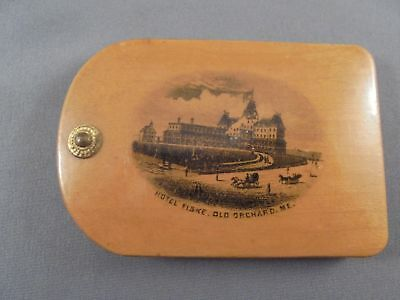 Old Antique Mauchline Ware Wood Notebook Hotel Fiske Old Orchard Maine USA