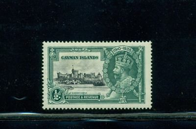 "Cayman Island #81 (1/2d Jubilee) MH with unlisted ""detatched flag"" variety"