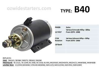 Evinrude / Johnson starter motor suits 40hp-60hp from 1970-1988
