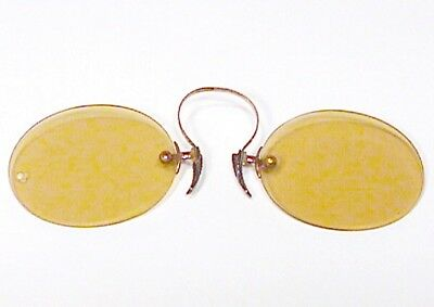 Old Antique Gold Filled Pinch Rimless Sunglasses Vintage Tinted Glasses $1Nr