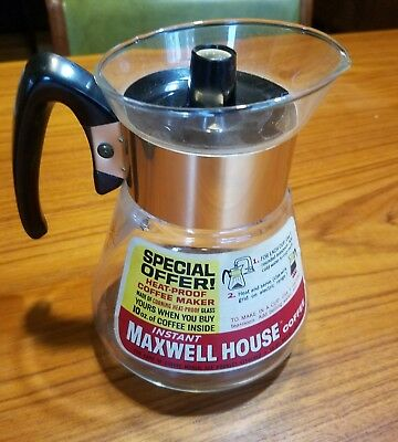 "VTG  Corning Glass Maxwell House Instant Coffee Maker Pot 4 Cups 7"" Promotional"