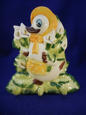 Vintage Ceramic Wall Duck In Apron Holding Calla Lillies - Use For Hanging Items