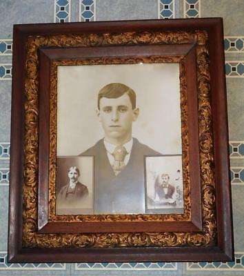 Antique Aesthetic Eastlake Victorian Oak Gold Gesso Picture Frame 1800's Photos