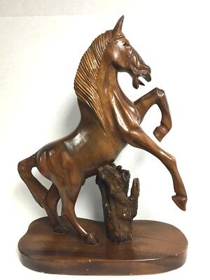 """Vintage Hand Carved Wooden Horse Stallion Sculpture Large 22"""" Tall"""