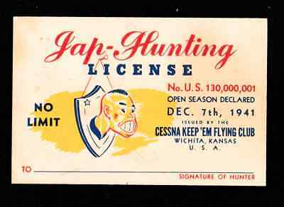 WWII - Anti Axis - Jap Hunting License - Cessna Keep em Flying Club