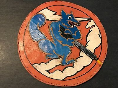 WWII/WW2 US AIR FORCE PATCH 18th Fighter Squadron ORIGINAL-LEATHER-USAF! BEAUTY!