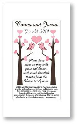 Birthday Party / Wedding Anniversary Favors Seed Packets - Love Birds Tree Heart