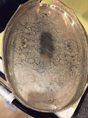 Antique Silver Georgian Style Butlers Tray (020)