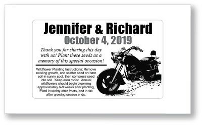 Birthday Party / Wedding Anniversary Favors Seed Packets - Motorcycle Harley HD
