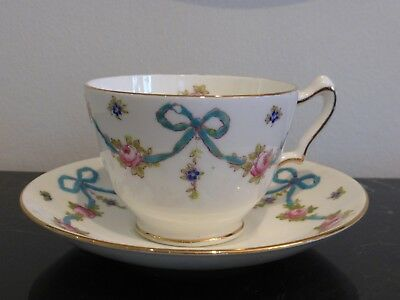 Crown Staffordshire F4547 Aqua Blue Bow With Flowers Cup And Saucer