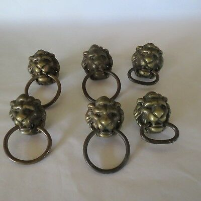 Lot of 6 Vintage Retro Lion Head Brass Drawer Door Knocker Pulls Knobs Handles