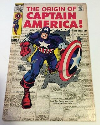 Captain America #109 Origin KIRBY Iconic Cover Marvel Silver Age 1968 KEY
