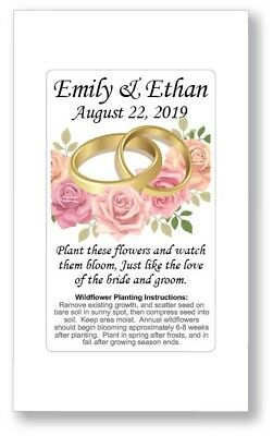 Birthday Party / Wedding Anniversary Favors Seed Packets - Gold Rings Roses GIFT