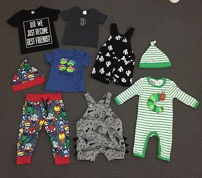 Baby Boys Clothes: Overalls, Pants, Onsie, Beanie & Shirts