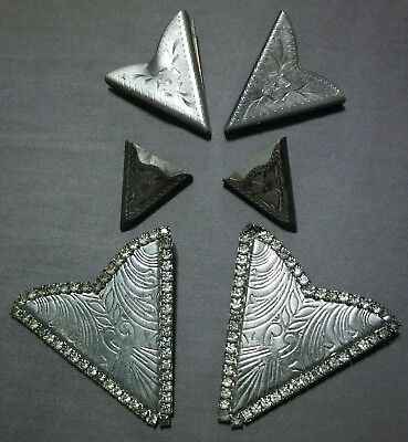 Lot Of 3 Pairs Vintage Western Collar Tips Points Silver Tone Rhinestones Cowboy