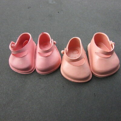 """Doll Shoes Lot Mary Janes 10"""" Dolls 2 Pair Pink 1950s Vintage Littlest Angel"""