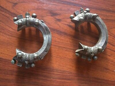 Pair of Vintage / Antique Silver Tribal Bracelets - Rajasthani / Central Asia