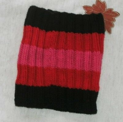 Kids Cowl Black Red andPink Color Age 6-10 yrs Hand Knitted Winter Clothes